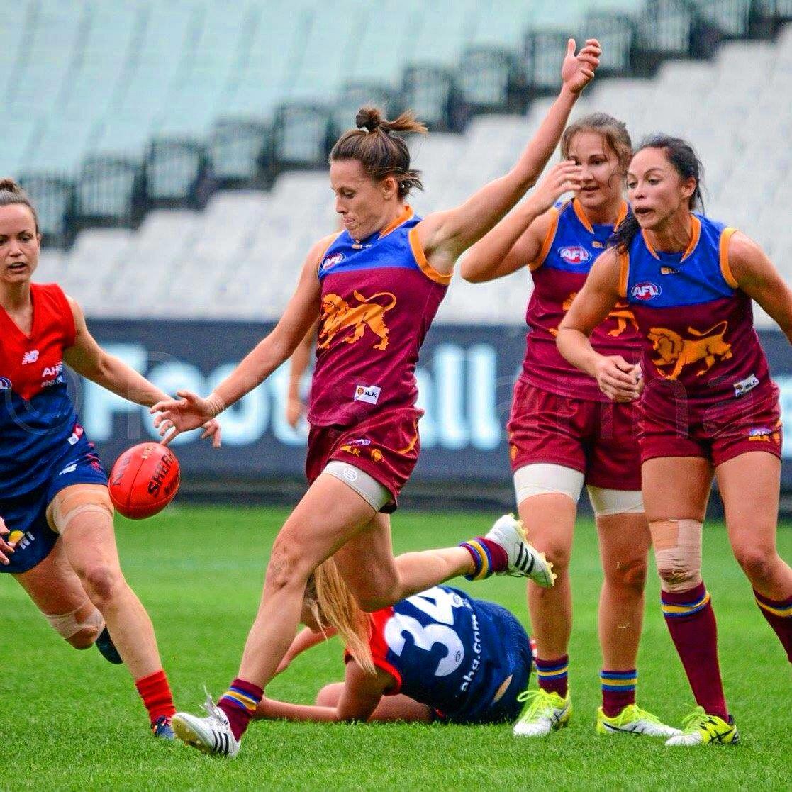 Bundaberg's Emma Zielke in action for the Brisbane Lions against Melbourne.