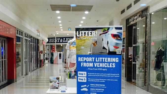 Roadside Litter Reduction Campaign display at the Ballina Fair Shopping Centre.