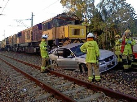 ON THE LINE: A man has been charged for allegedly leaving a stolen car on train tracks at Landsborough.
