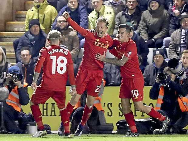 Liverpool's Lucas Leiva, centre, celebrates scoring against Plymouth Argyle in the Reds' 1-0 FA Cup third-round replay win.