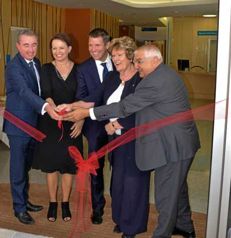 Federal Member for Page, Kevin Hogan, Federal Minister for Health Susan Ley, NSW Premier Mike Baird,  NSW Minister for Health Jillian Skinner and member for Lismore Thomas George officially opening Stage 3A of the Lismore Base Hospital redevelopment.