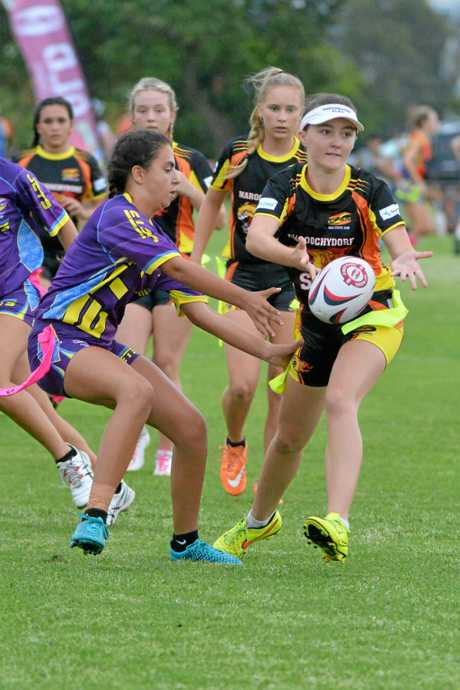 ACTION: Under 14 girls Maroochydore Suns Vs Caloundra Jets at the 2016 event.