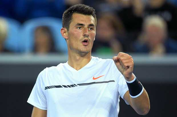 Bernard Tomic during his hard-fought win over  Victor Estrella Burgos of the Dominican Republic