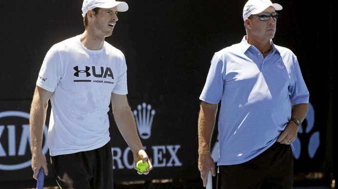 Britain's Andy Murray, left, talks with his coach Ivan Lendl during a practice session at the Australian Open.