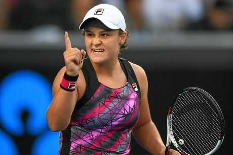 Ashleigh Barty of Australia reacts to winning her match against against Shelby Rogers of the United States