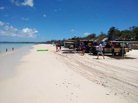 CAMP GROUND: Bundaberg Four Wheel Drive Club members set up at Platypus Bay.