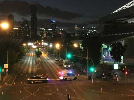 Olympic Boulevard closed outside Melbourne Park.