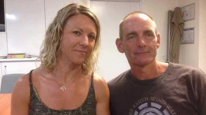 Paul Booker and Sarah Hansen were forced to flee their homes as a bush fire threatened their property