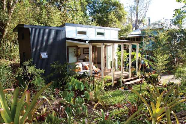 Lara Nobel and partner Andrew's tiny home in inner-city Brisbane.