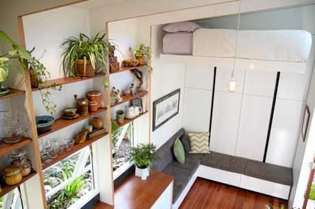Lara Nobel and partner Andrew's tiny home in inner-city Brisbane.
