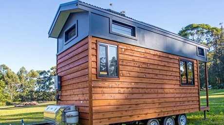 A tiny home Grant Emans has built.