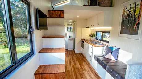 A tiny home that Grant Emans has built.