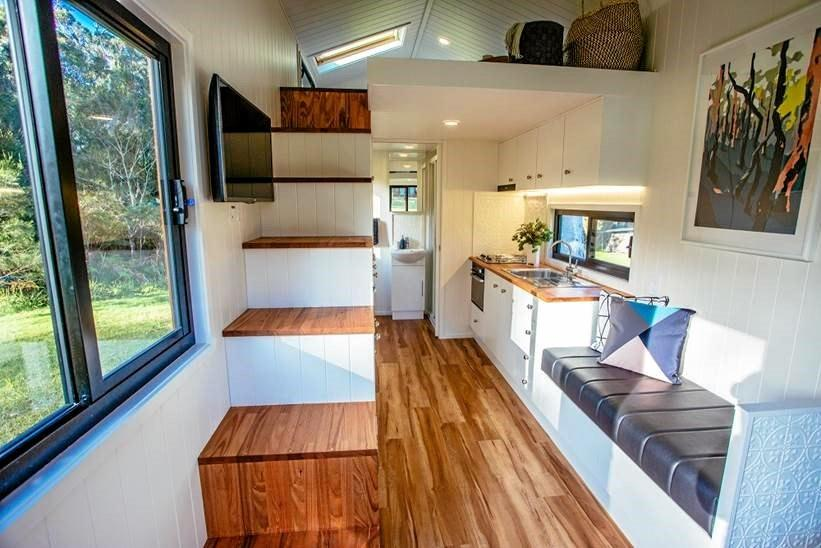 A tiny home that Grant Emans has built.