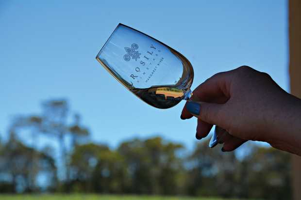 Tasting wine at Rosily winery in the Margaret River region in Western Australia.