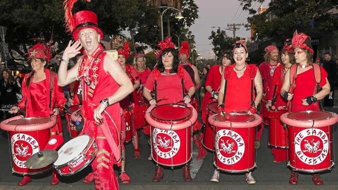LET'S HEAR IT: Paul Barrett says 'turn it up' to his merry crew of drummers, the much-loved Samba Blisstas.
