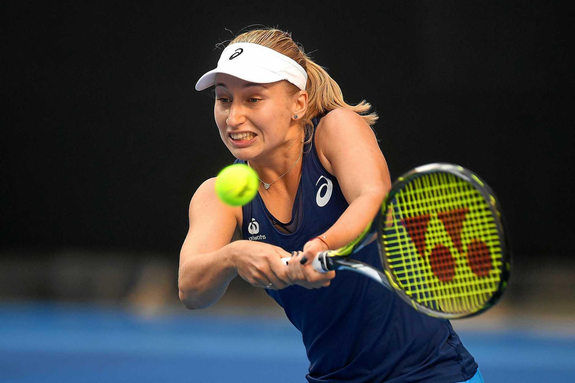 Daria Gavrilova of Australia in action against Ana Konjuh of Croatia