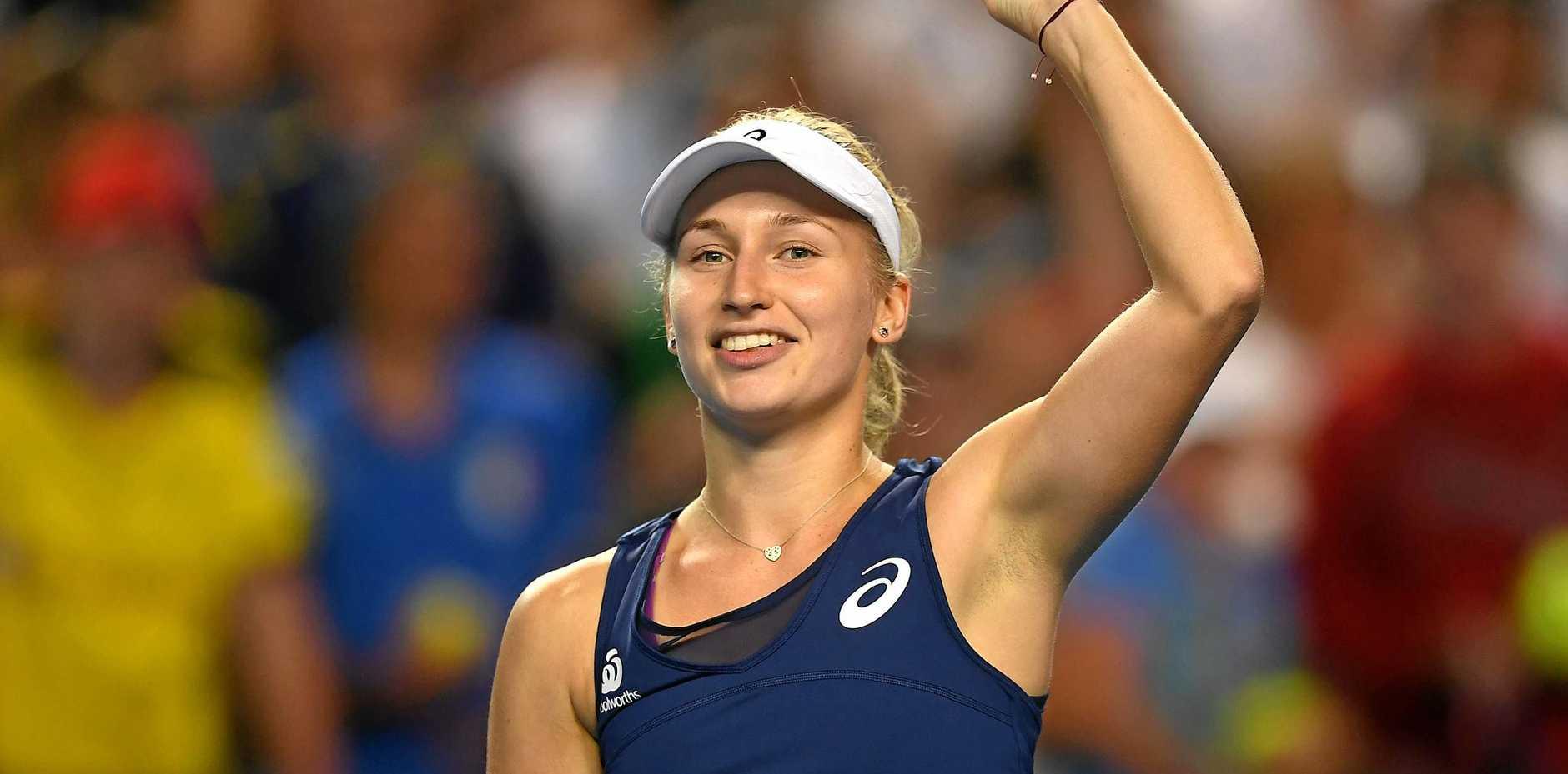 Daria Gavrilova celebrates her win against Ana Konjuh of Croatia