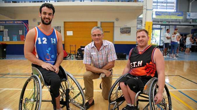 Adam Deans, Cr Tim Dwyer and Matt McShane at the Suncoast Spinners Wheelchair Basketball tournament.