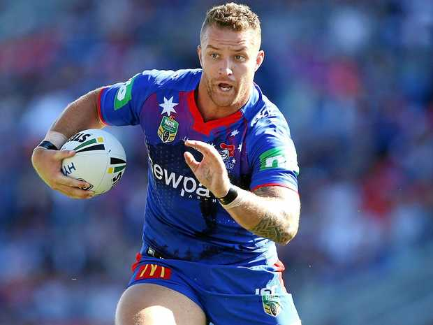 Korbin Sims in action for the Newcastle Knights.