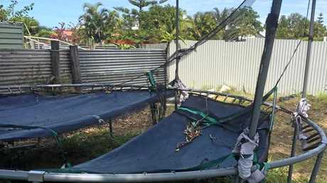 Her son's special therapy trampoline was left trashed.