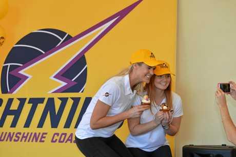 PIECE OF CAKE: Sunshine Coast Lightning attacking partnership Caitlin Bassett and Steph Wood.