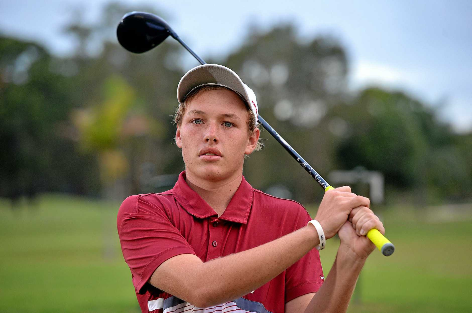 Young golfer Shae Wools-Cobb on the fairway at Horton Park.  Photo: Warren Lynam / Sunshine Coast Daily
