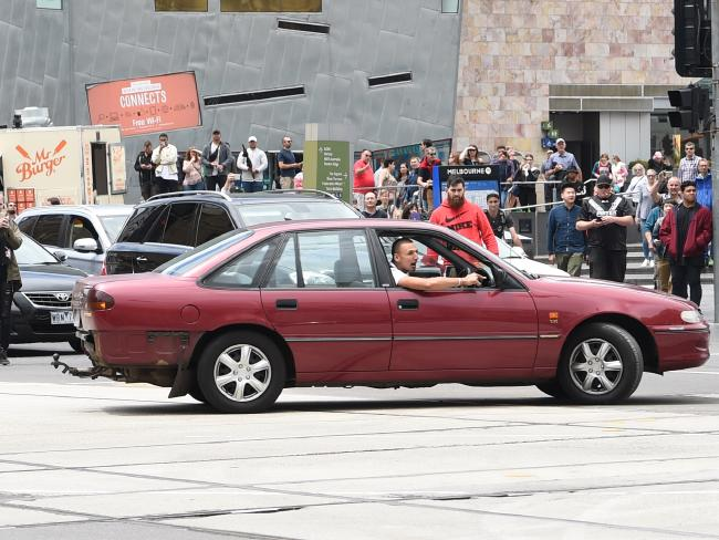 The car being driven on Bourke St, Melbourne, before the incident. Picture: Tony Gough