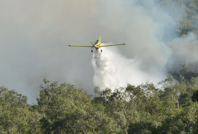 A fire bomber drops water on the blaze