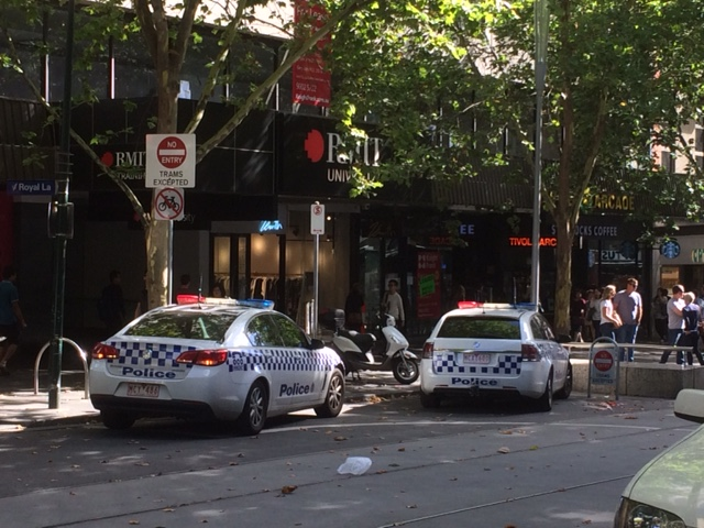 EMPTY STREETS: Police guard the scene around Bourke St Mall in Melbourne where Toowoomba woman Marg Alexander and her family was just moments before a car ploughed into pedestrians.