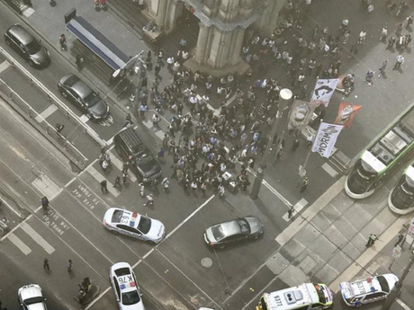 The police operation on Bourke Street in the Melbourne CBD. Picture: Twitter.Source:Twitter