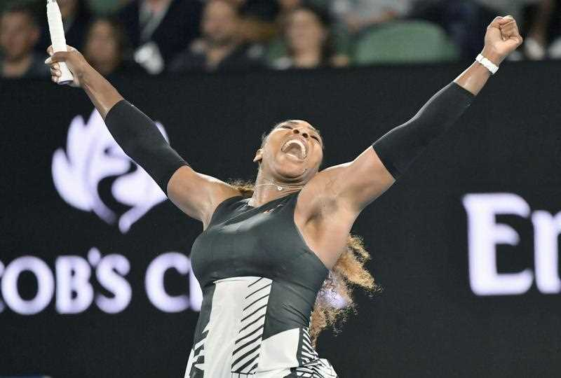 Serena Williams reacts after defeating Lucie Safarova of the Czech Republic 6-3, 6-4 in the second round of the Australian Open in Melbourne on Jan. 19, 2017.