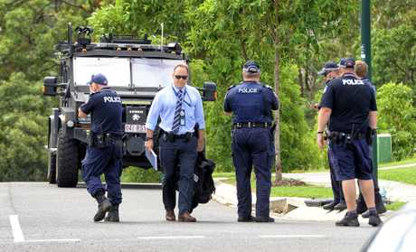 Police on Charlotte Court in Leichhardt on Saturday morning.