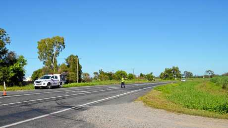 Traffic control was in place on the Bruce Hwy at Balberra after a serious crash between a motorbike and vehicle on Saturday.