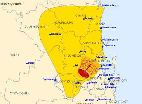 A severe thunderstorm warning issued at 2.20pm today.