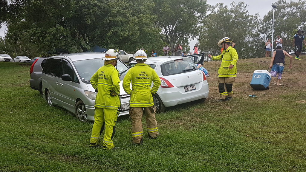 Drivers were caught out after the heavy rain on Saturday afternoon with three vehicles sliding down the embankment next to Bill Paterson Oval.
