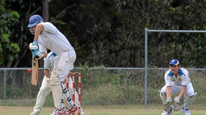 SOLID: Maroochydore batsman Josh Peters defends.