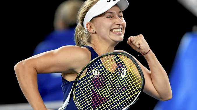 Australia's Daria Gavrilova celebrates after defeating Switzerland's Timea Bacsinszky in their third round match at the Australian Open
