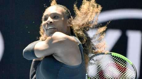 Serena Williams returns a shot during her third-round match against fellow American Nicole Gibbs at the Australian Open in Melbourne on Jan. 21, 2017. Williams won 6-1, 6-3. (Kyodo)==Kyodo
