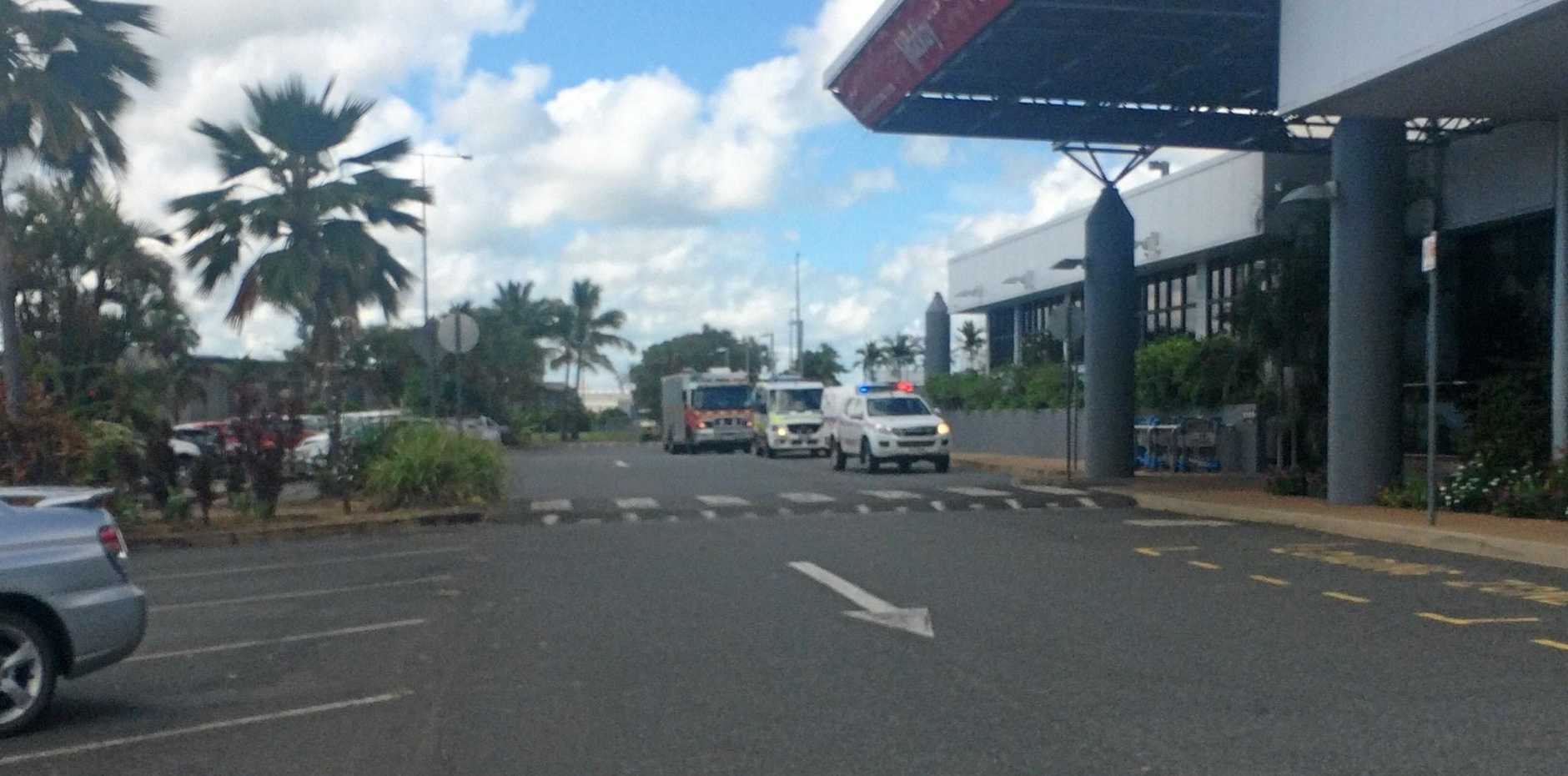 Emergency services crews at Mackay Railway Station about 9.30am.