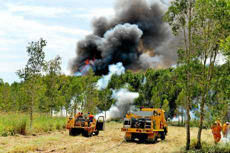 The fire continued to burn as fire crews did back burning to help control the inferno.
