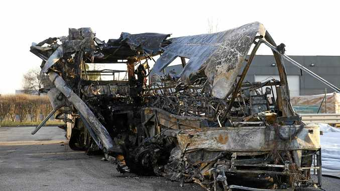 BURNT WRECK: The bus that crashed in Italy on its way to Budapest.
