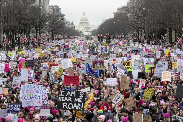 HUGE TURNOUT: Thousands of people participate in the Women's March in Washington to protest against new US President Donald Trump's divisive policies.