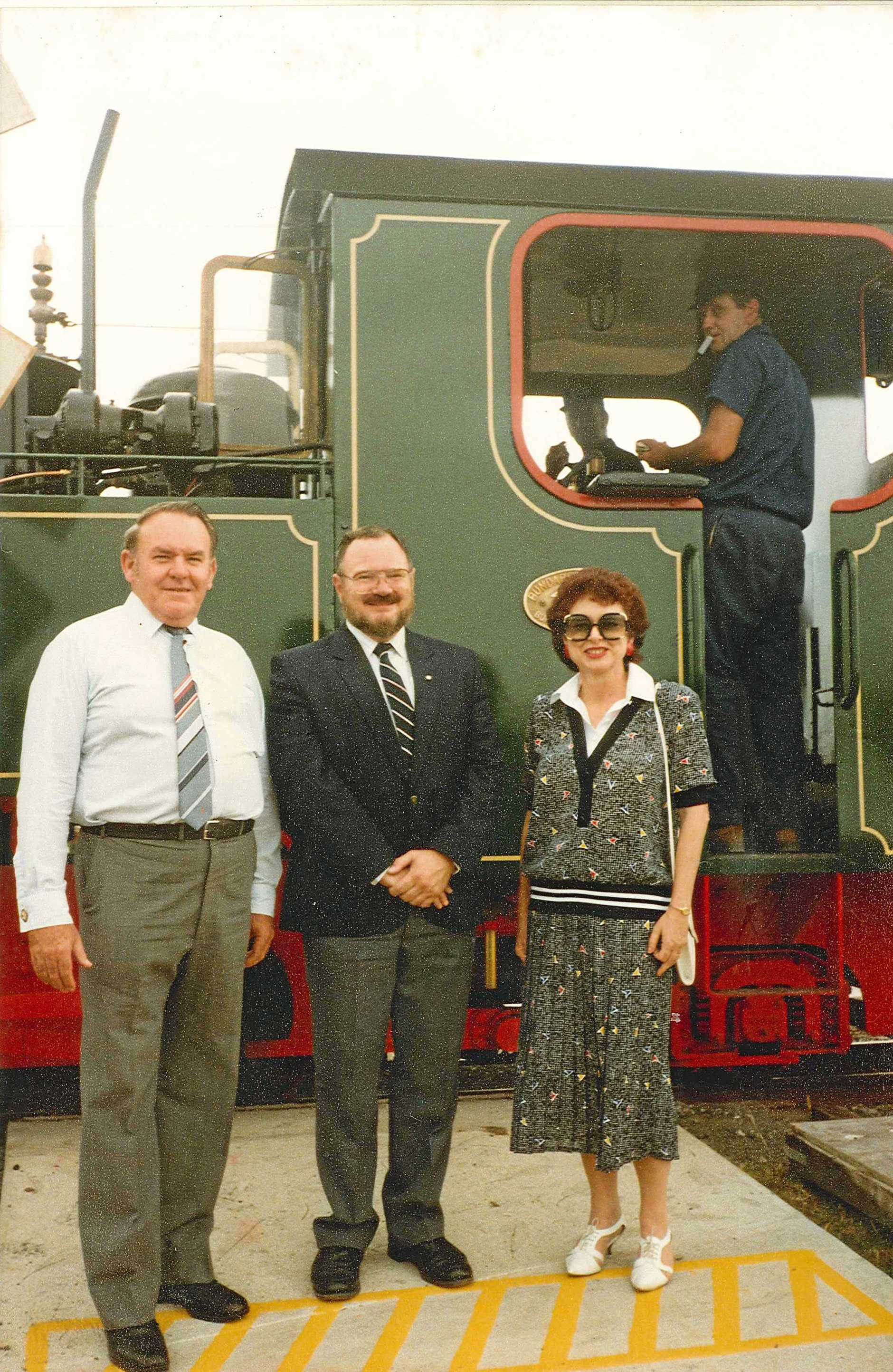 John Faircloth, Jeff Boreham and Pat Faircloth at the opening of the Bundaberg Railway Museum in 1988.