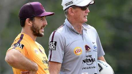 Ben Hunt (L) and coach Wayne Bennett.