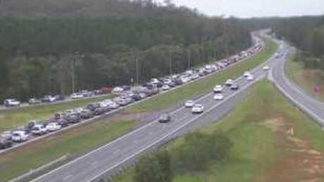 Heavy congestion on the Bruce Hwy near Beerburrum.