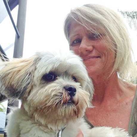 Leanne Cassell with her eight-month-old pup Chia.
