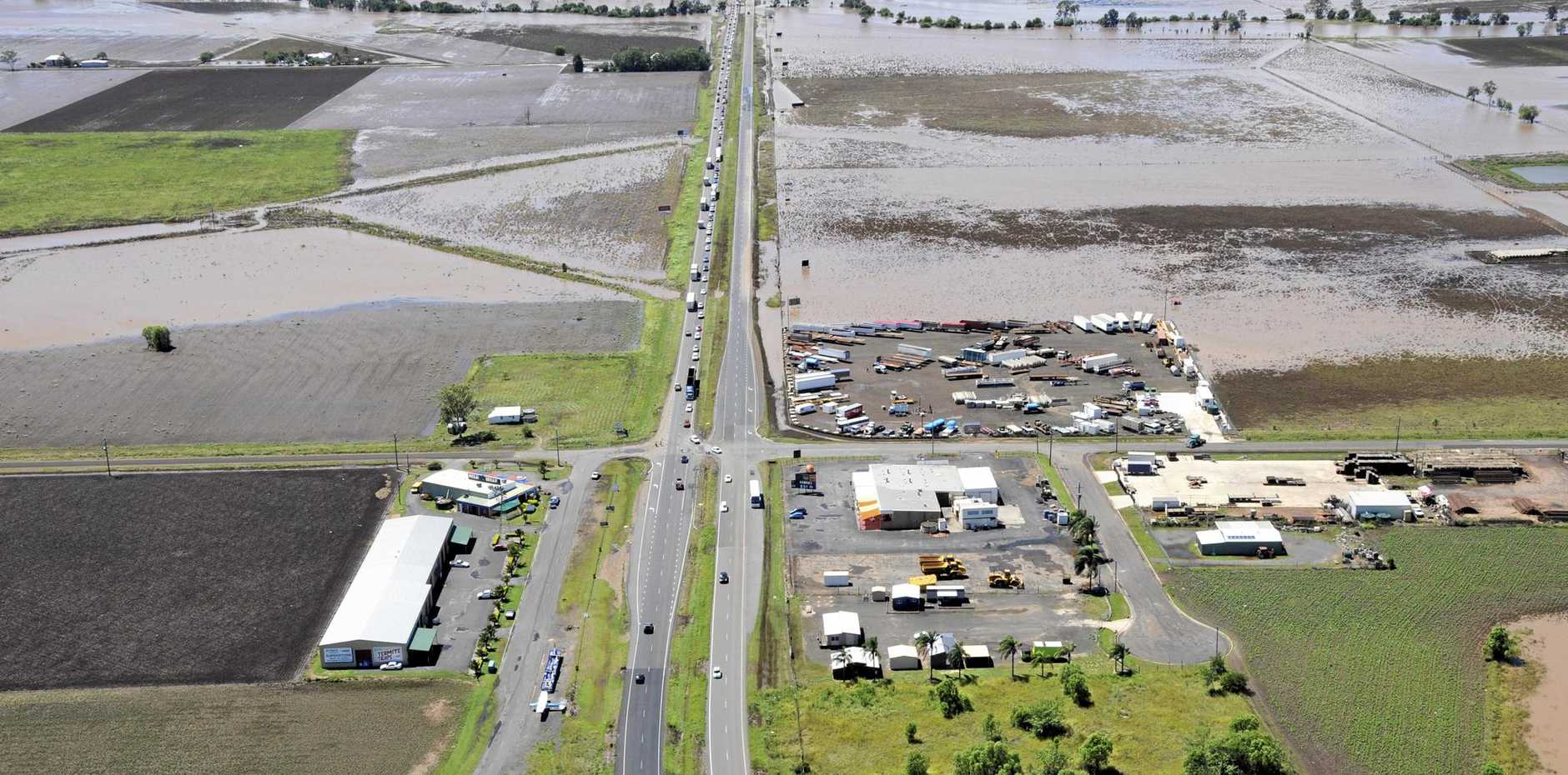 WET TIMES: Lockyer Valley post flood, Warrego Highway at Plainland that was cut by floodwater, during the 2013 Lockyer Valley floods.