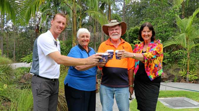 CELEBRATING: DJ McGlynn with Friends of the Gardens volunteers Joan Horgan and Paul Horne, and Cr Jenny McKay.