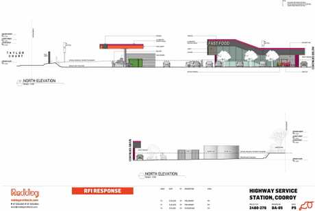 The proposed service station drawings as submitted to council.