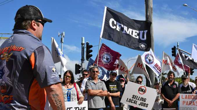CFMEU Mackay district president Stephen Smyth at a rally.